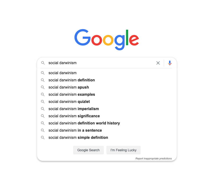 social darwinism on google SERP
